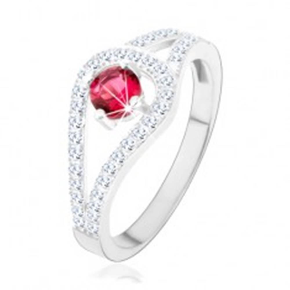 Šperky eshop Strieborný prsteň 925, rozdvojené trblietavé ramená, ružový zirkón - Veľkosť: 49 mm