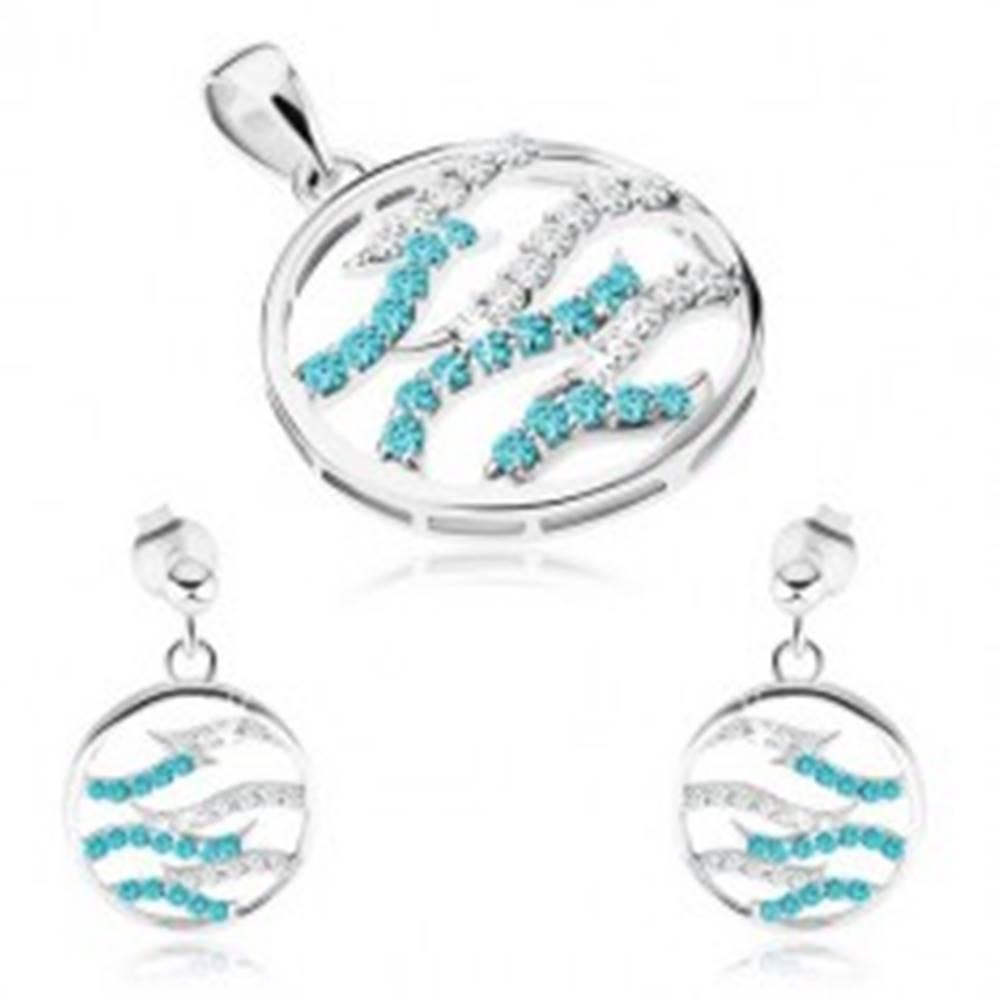 Šperky eshop Strieborný set 925, náušnice a prívesok, kruh, číre a modré zirkónové vlnky