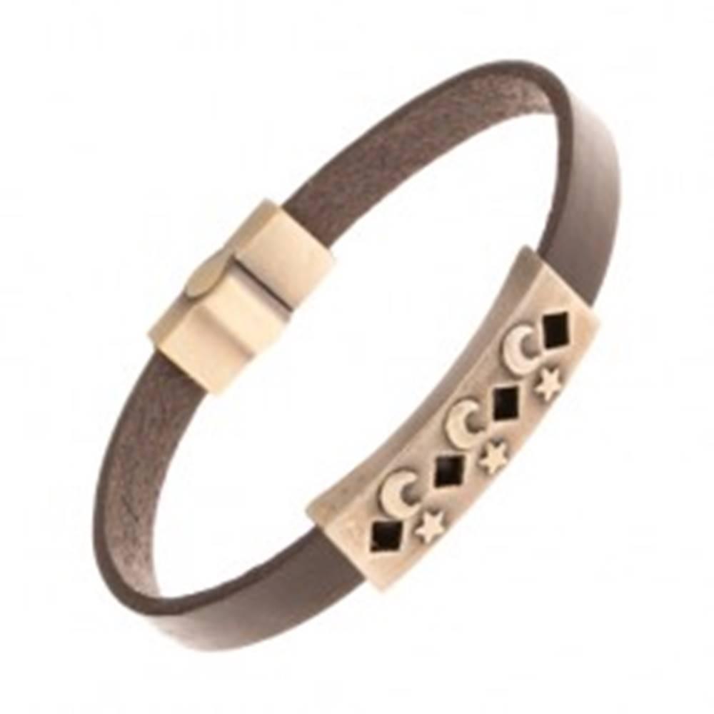 Šperky eshop Tmavohnedý kožený náramok, známka mosadznej farby - výrezy, hviezdy, mesiace