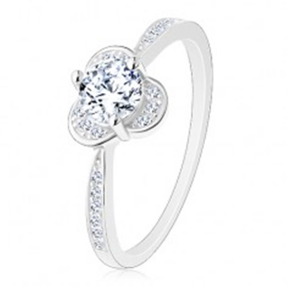 Šperky eshop Trblietavý prsteň zo striebra 925, okrúhly číry zirkón s ligotavými poloblúkmi - Veľkosť: 49 mm