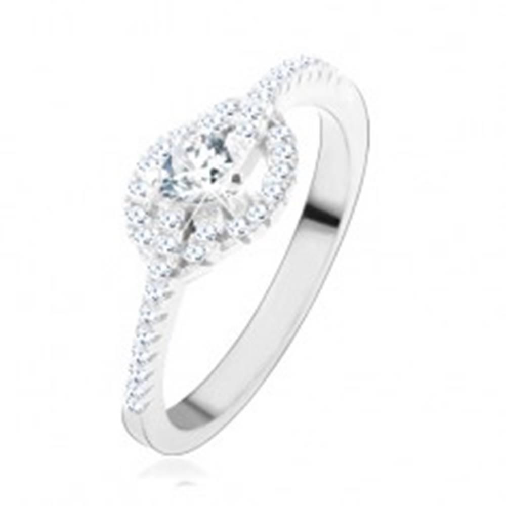 Šperky eshop Zásnubný prsteň zo striebra 925, číre zirkónové srdce, zatočené línie - Veľkosť: 49 mm