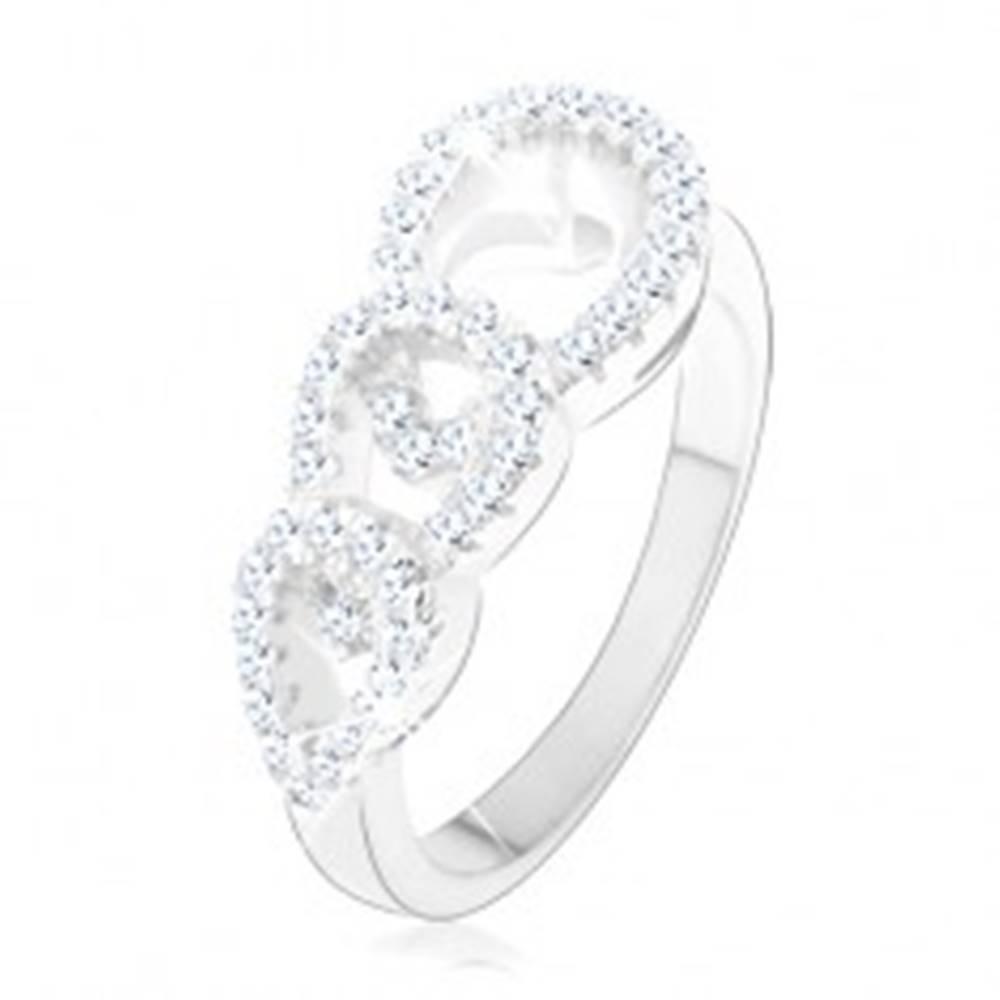 Šperky eshop Zásnubný prsteň zo striebra 925, tri zirkónové kontúry kvapiek - Veľkosť: 48 mm