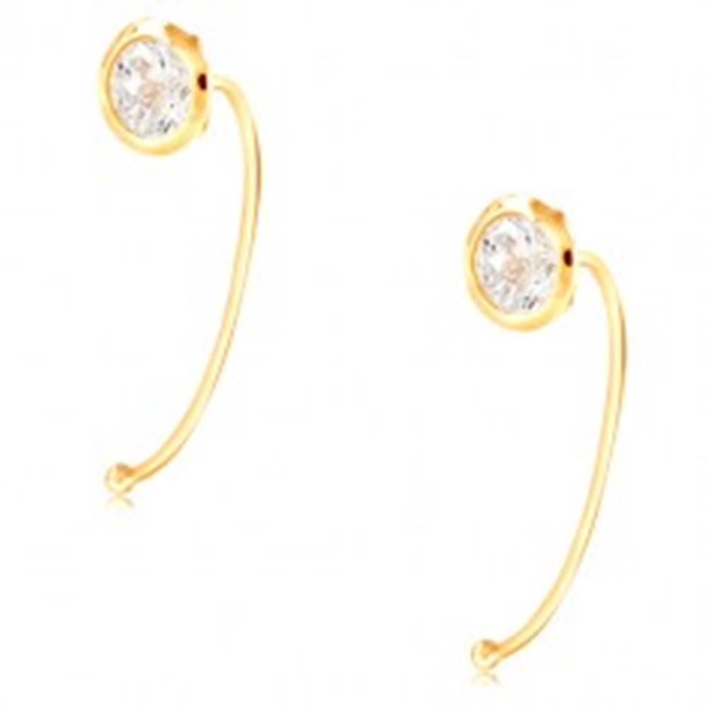 Šperky eshop Zlaté 14K náušnice - číry okrúhly zirkón v objímke, tenký oblúk
