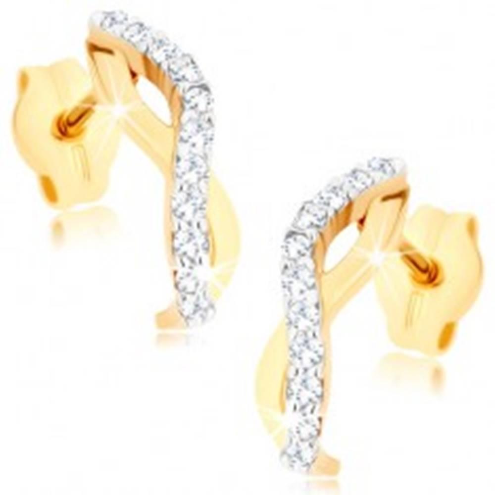 Šperky eshop Zlaté náušnice 375 - dve zvlnené línie tvoriace oblúčik, číre zirkóny