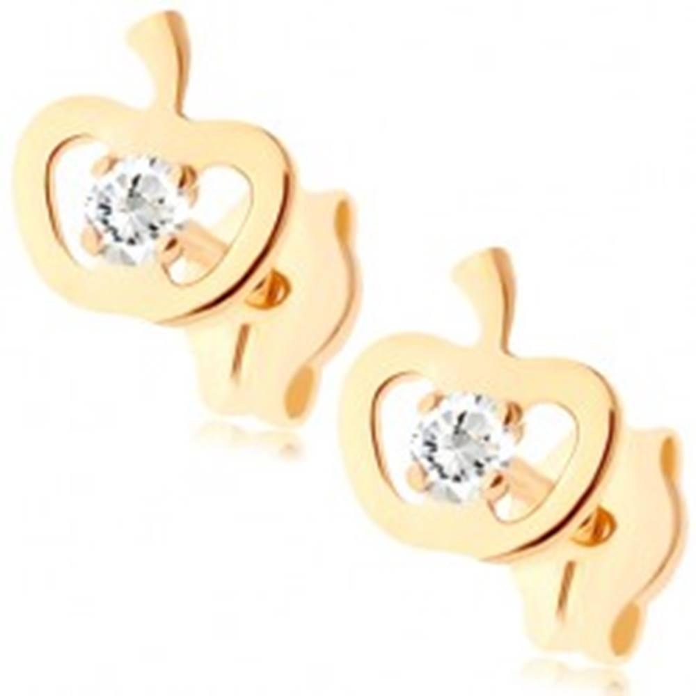 Šperky eshop Zlaté náušnice 375 - ligotavý obrys jabĺčka, okrúhly zirkón čírej farby
