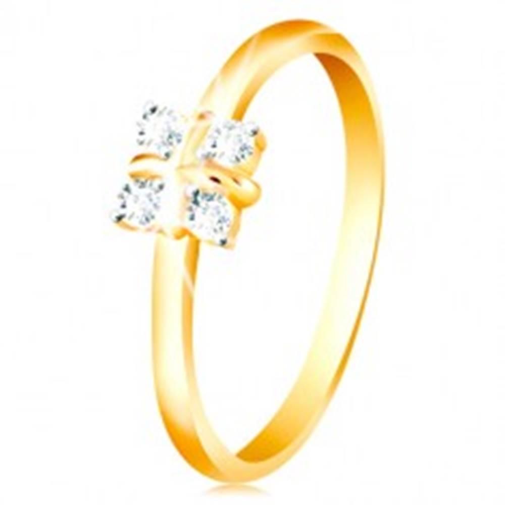 Šperky eshop Zlatý 14K prsteň - lesklé zaoblené ramená, štyri číre zirkóny, krížik v strede - Veľkosť: 49 mm