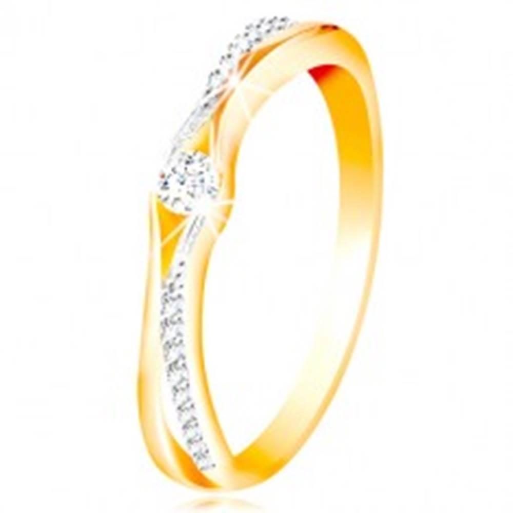 Šperky eshop Zlatý 14K prsteň, rozdelené ramená zo žltého a bieleho zlata, číre zirkóny - Veľkosť: 49 mm