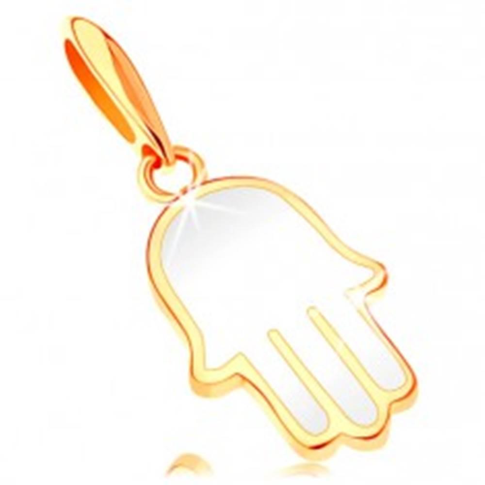 Šperky eshop Zlatý prívesok 585 - ruka Fatimy pokrytá glazúrou bielej farby