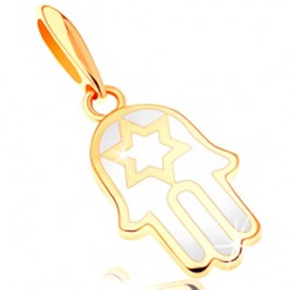 Šperky eshop Zlatý prívesok 585 - ruka Fatimy pokrytá glazúrou bielej farby, hviezda