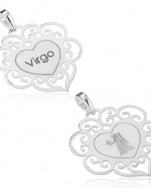 Šperky eshop Prívesok zo striebra 925, znamenie zverokruhu PANNA, ploché srdce, filigrán
