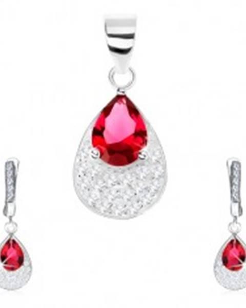 Šperky eshop Strieborná sada 925 - náušnice, prívesok, červená zirkónová kvapka, číre zirkóny