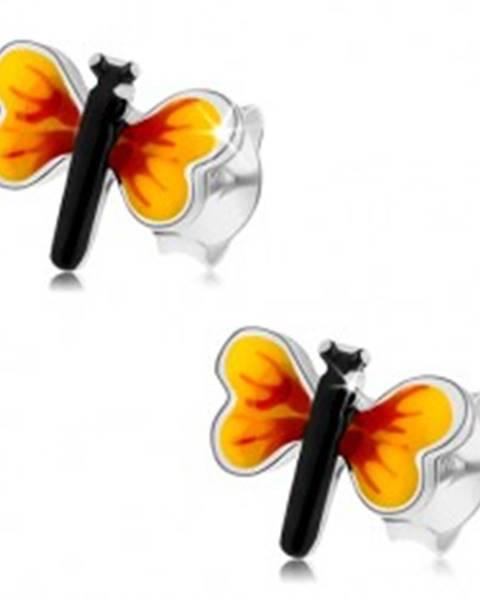Šperky eshop Strieborné 925 náušnice, malý motýlik, žlto-červené krídla, puzetky