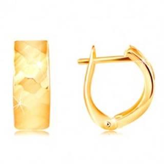 Náušnice v žltom 14K zlate - ligotavý povrch s vybrúsenými plôškami