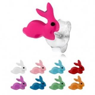 Náušnice zo striebra 925, drobný zajačik s farebnou glazúrou, puzetky - Farba: Biela