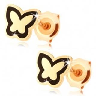 Náušnice zo zlata 375 - lesklý plochý motýlik, obrys z čiernej glazúry
