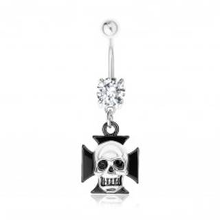 Oceľový 316L piercing do pupka, číry zirkón, maltézsky kríž, lebka