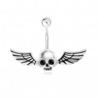 Oceľový 316L piercing do pupku, lebka s krídlami svietiaca v tme