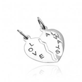 Prívesok pre dvoch zo striebra 925 - prelomené srdce s nápisom Love Always