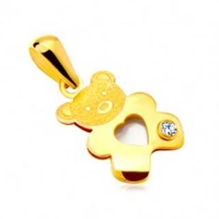 Prívesok v žltom zlate 585 - medvedík s perleťovým srdiečkom a čírym zirkónom