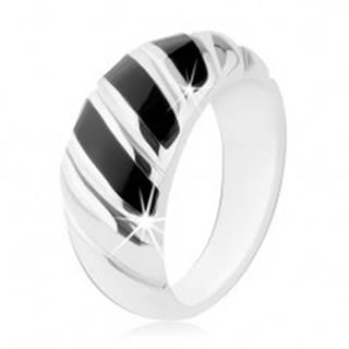 Prsteň, striebro 925, čierny ónyx, tri šikmé prúžky, zárezy - Veľkosť: 48 mm