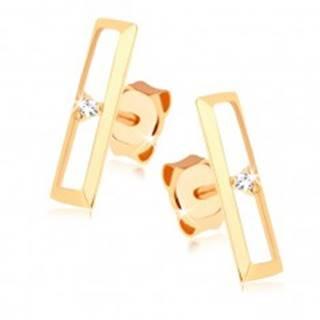 Puzetové náušnice zo zlata 375 - lesklý obrys obdĺžnika, číry zirkónik