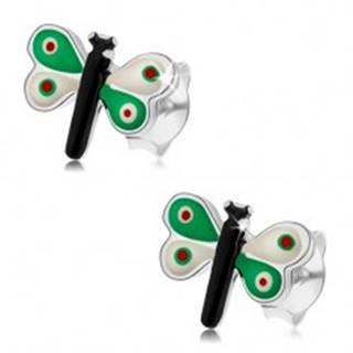 Strieborné náušnice 925, motýlik s farebnou glazúrou, zeleno-biele krídla