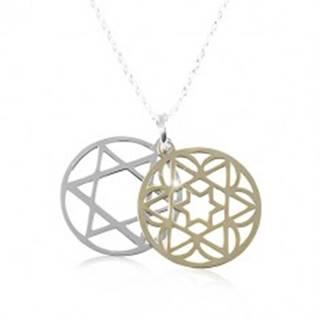 Strieborný náhrdelník 925, dvojfarebná vyrezávaná hviezda v kruhu
