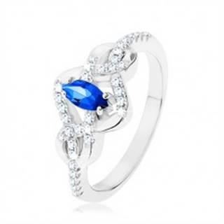 Strieborný prsteň 925, modrý zirkónový ovál, prepletené línie zdobené zirkónmi - Veľkosť: 49 mm