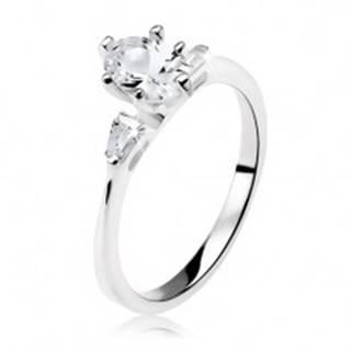 Zásnubný prsteň zo striebra 925, číry oválny zirkón, malé lichobežníky - Veľkosť: 49 mm