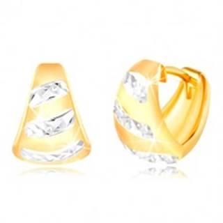 Zlaté 14K náušnice - matný rozšírený oblúk, ligotavé pásy z bieleho zlata