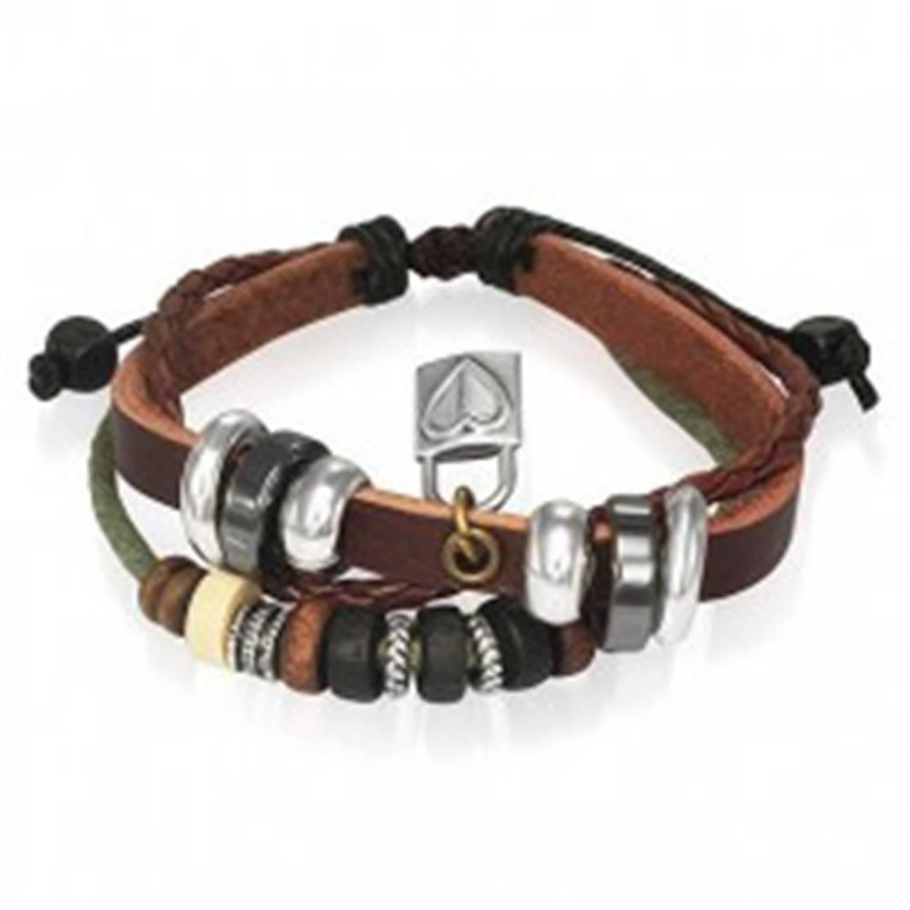 Šperky eshop Kožený náramok s korálkami a kladkou so srdcom