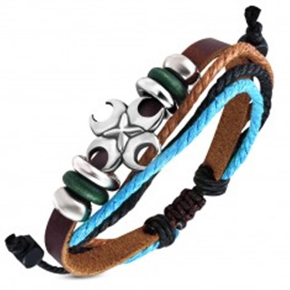 Šperky eshop Kožený náramok s krížikom z polmesiacov, guličkami a šnúrkami