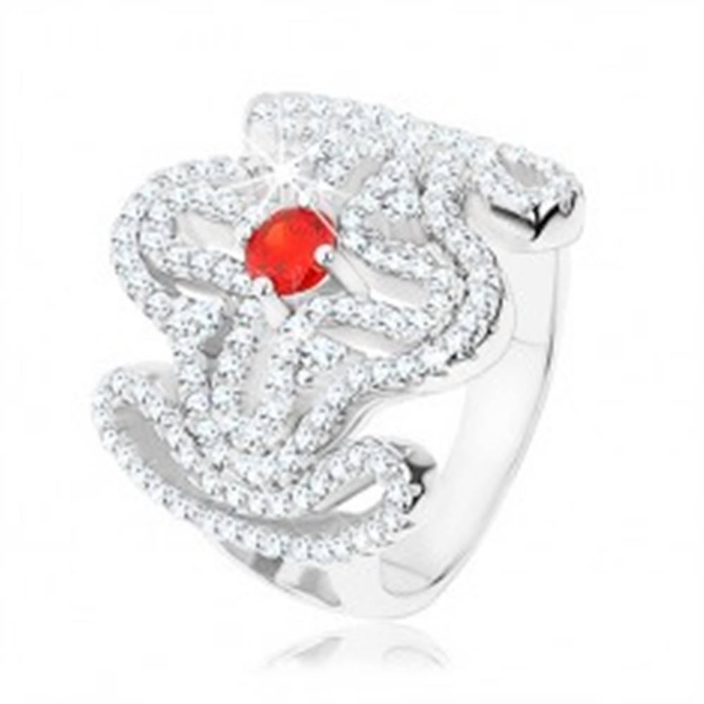 Šperky eshop Masívny prsteň, striebro 925, červený zirkónik, rozsiahly ornament - kríž - Veľkosť: 49 mm