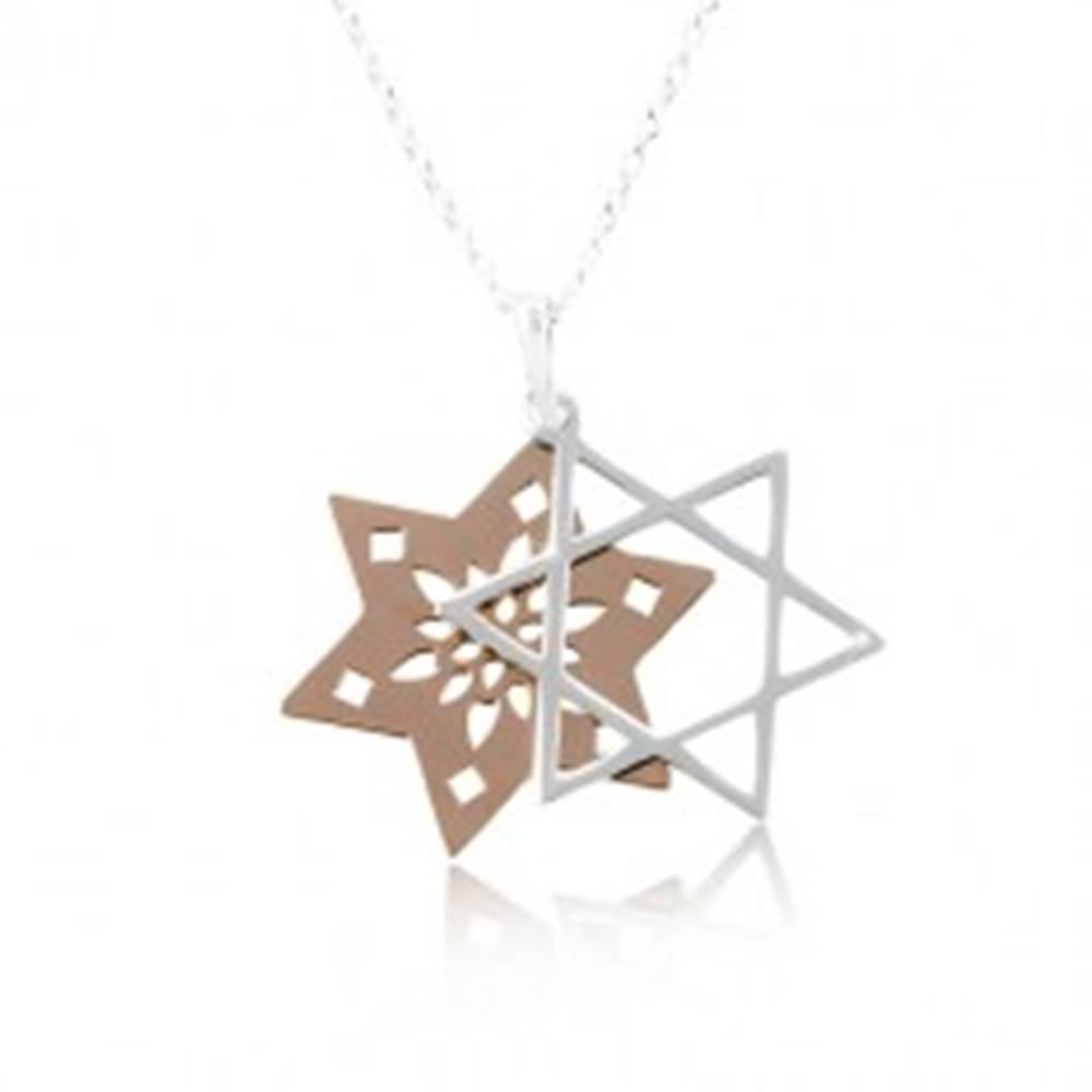 Šperky eshop Náhrdelník zo striebra 925, zdvojená hviezda s výrezmi, medená a strieborná farba