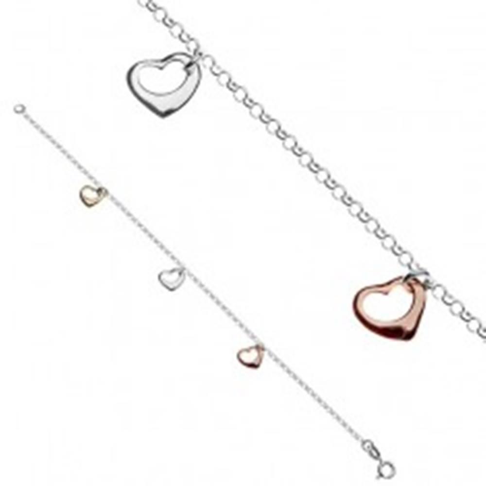 Šperky eshop Náramok na ruku zo striebra 925 s tromi farebnými srdiečkami