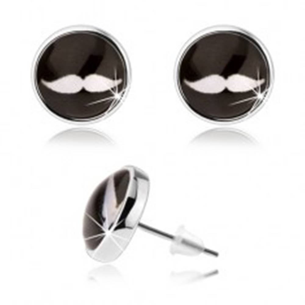 Šperky eshop Náušnice cabochon, puzetky, číre sklo, biele fúzy na čiernom podklade