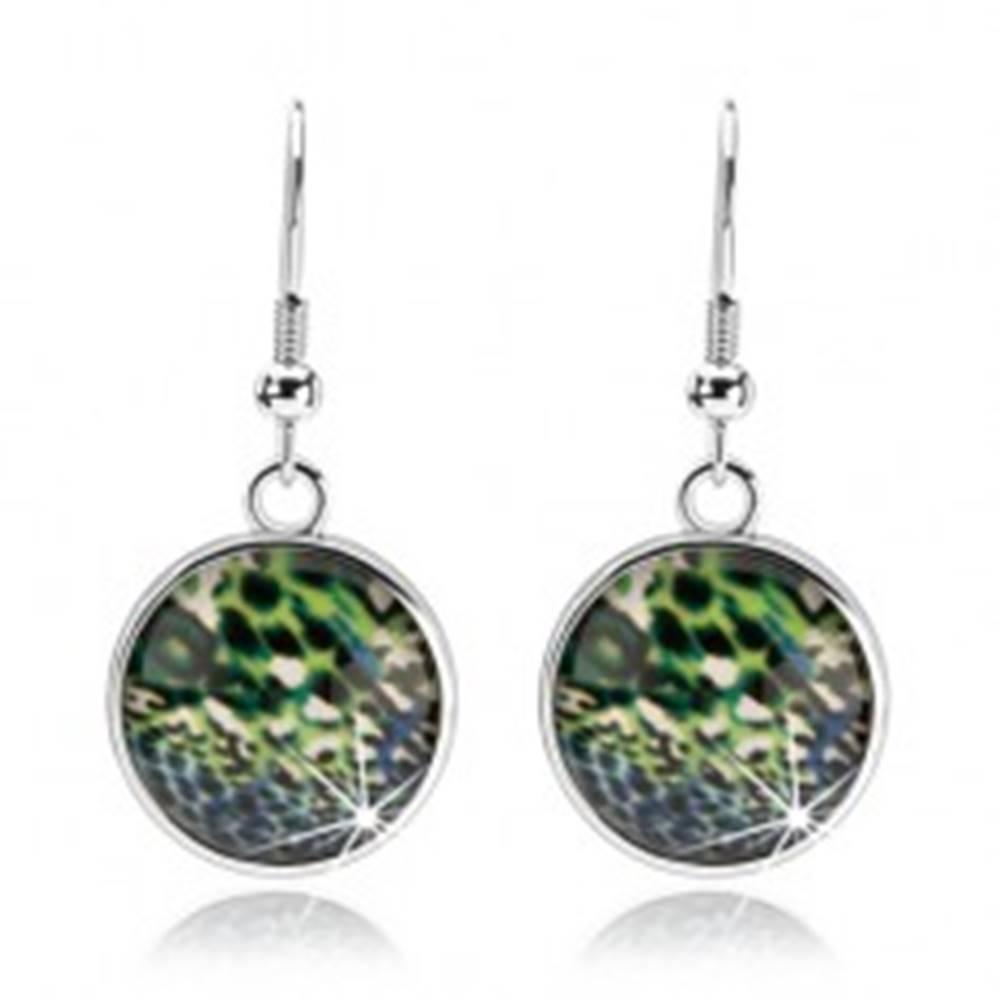 Šperky eshop Náušnice cabochon, strieborná farba, číre sklo, pestrý abstraktný vzor