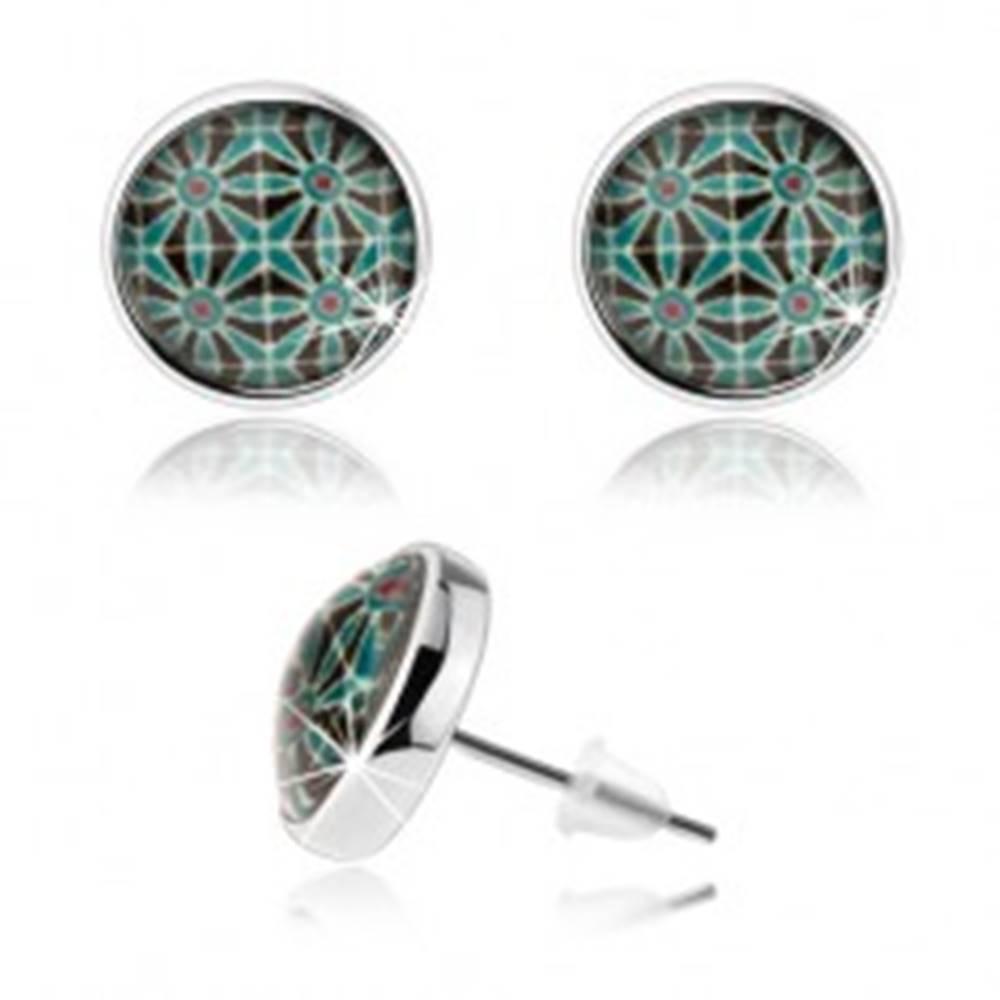Šperky eshop Náušnice kabošon, číre sklo, strieborná farba, symetrický obrazec - kvety