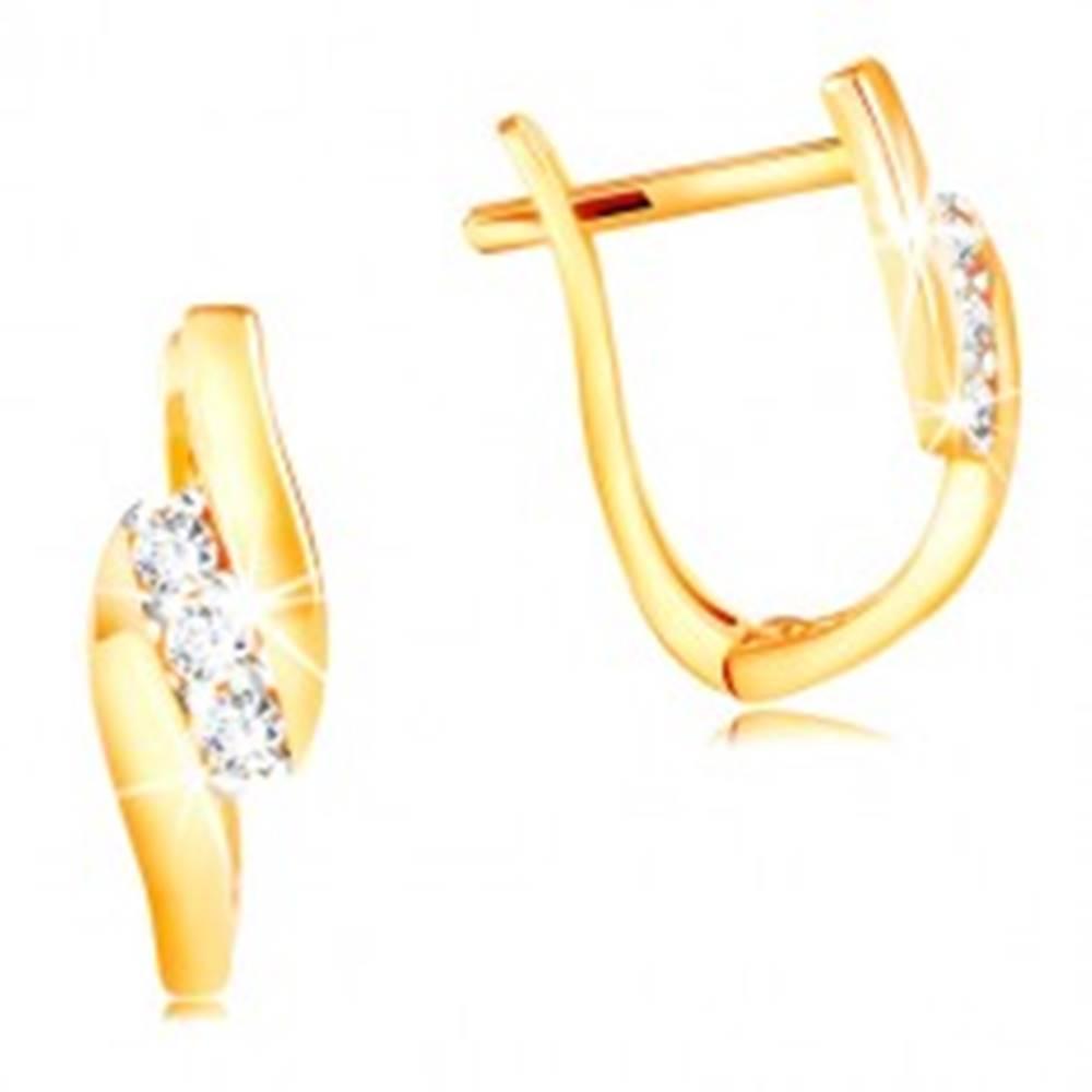 Šperky eshop Náušnice zo 14K zlata - šikmá línia čírych zirkónov medzi lesklými pásmi