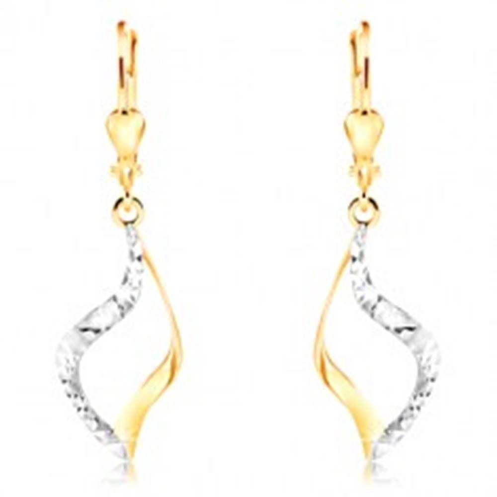 Šperky eshop Náušnice zo 14K zlata - zvlnený obrys zrnka, dvojfarebné prevedenie