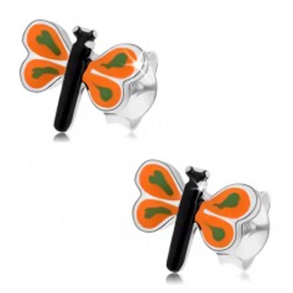 Šperky eshop Náušnice zo striebra 925, malý motýlik s farebnou glazúrou, oranžové krídla