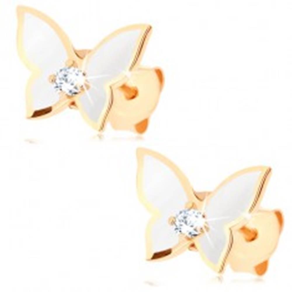Šperky eshop Náušnice zo zlata 375 - malý motýlik, krídla pokryté bielou glazúrou, číry zirkón