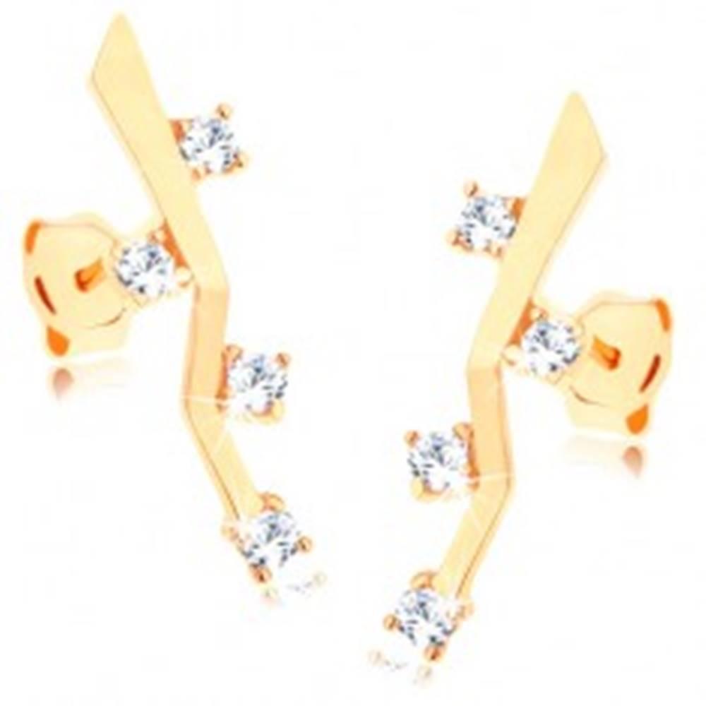 Šperky eshop Náušnice zo žltého 9K zlata - lesklá zalomená palička, štyri číre zirkóny