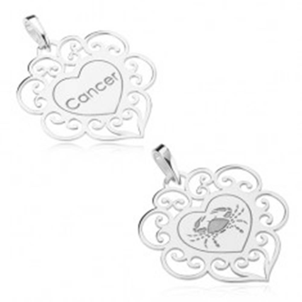 Šperky eshop Obojstranný prívesok, striebro 925, srdce s filigránom, znamenie zverokruhu RAK