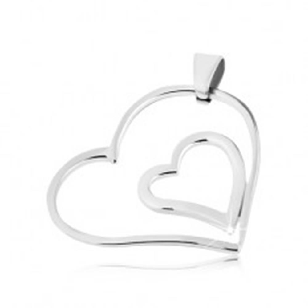 Šperky eshop Oceľový prívesok - dvojité spojené srdce
