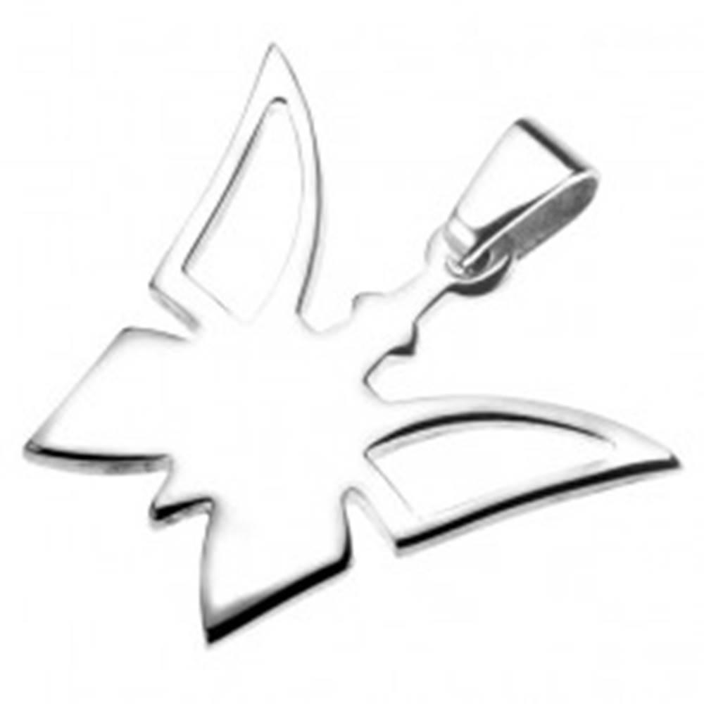 Šperky eshop Oceľový prívesok - motýlik s výrezom na krídlach