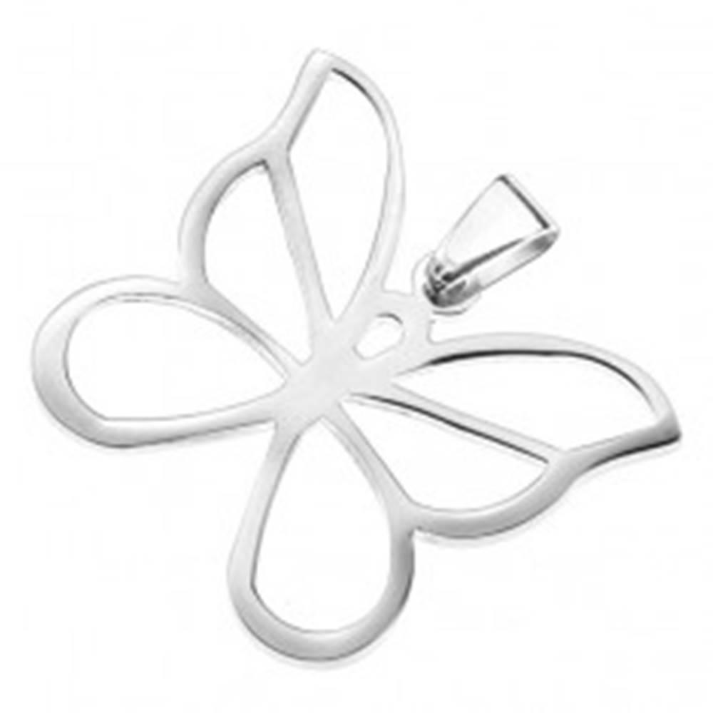 Šperky eshop Oceľový prívesok - vyrezávaný motýľ, vlnité kontúry