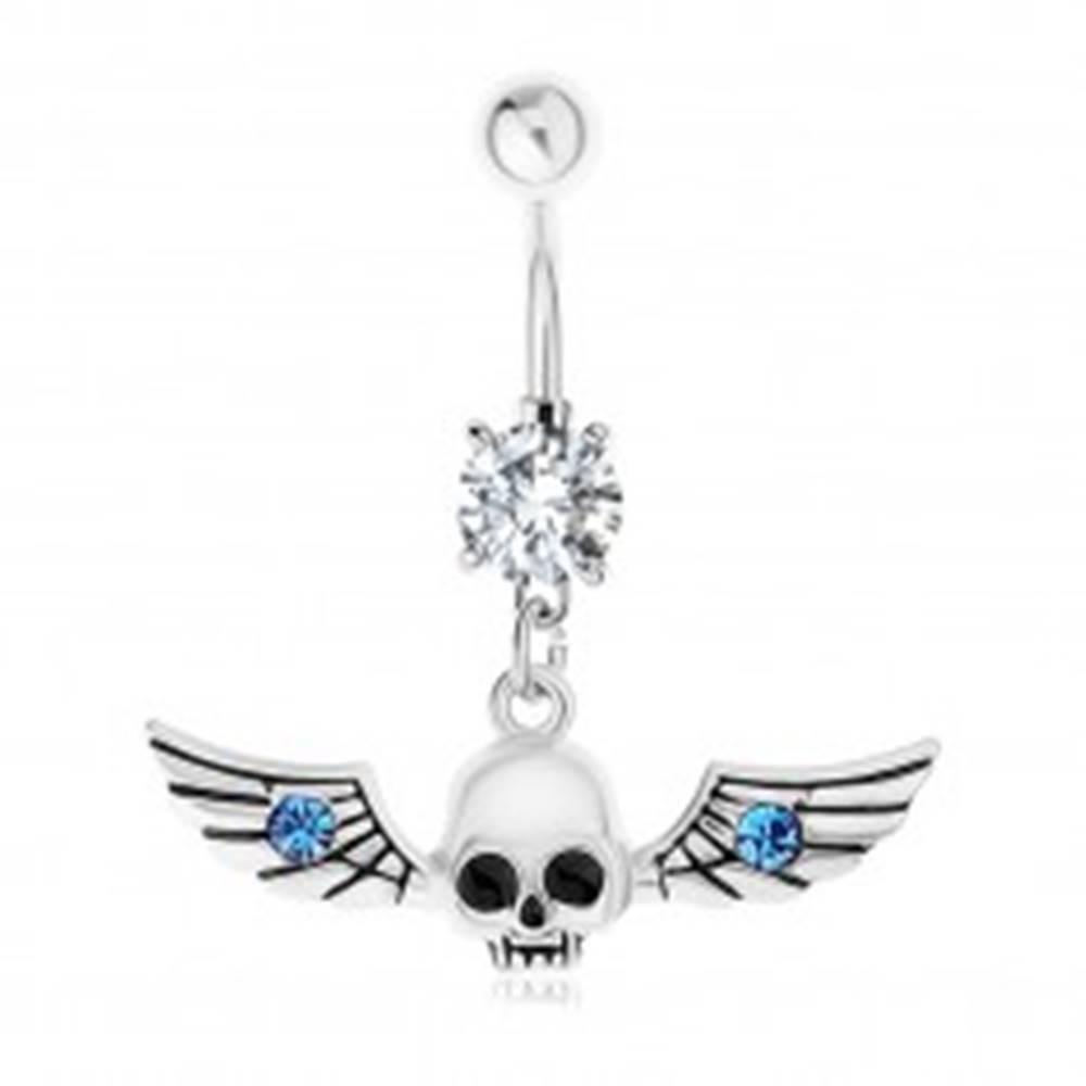 Šperky eshop Piercing do brucha, oceľ 316L, lebka s krídlami, modré zirkóniky