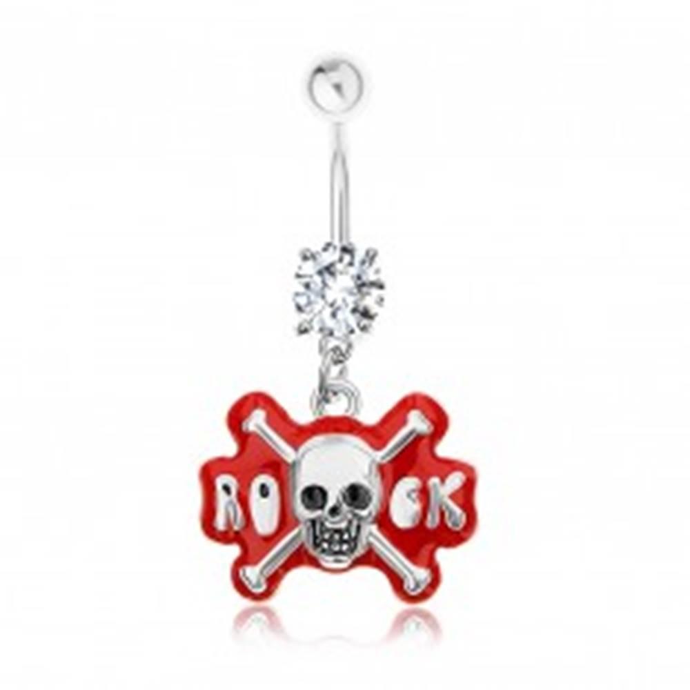 Šperky eshop Piercing do pupku, chirurgická oceľ, zirkón, lebka, nápis ROCK