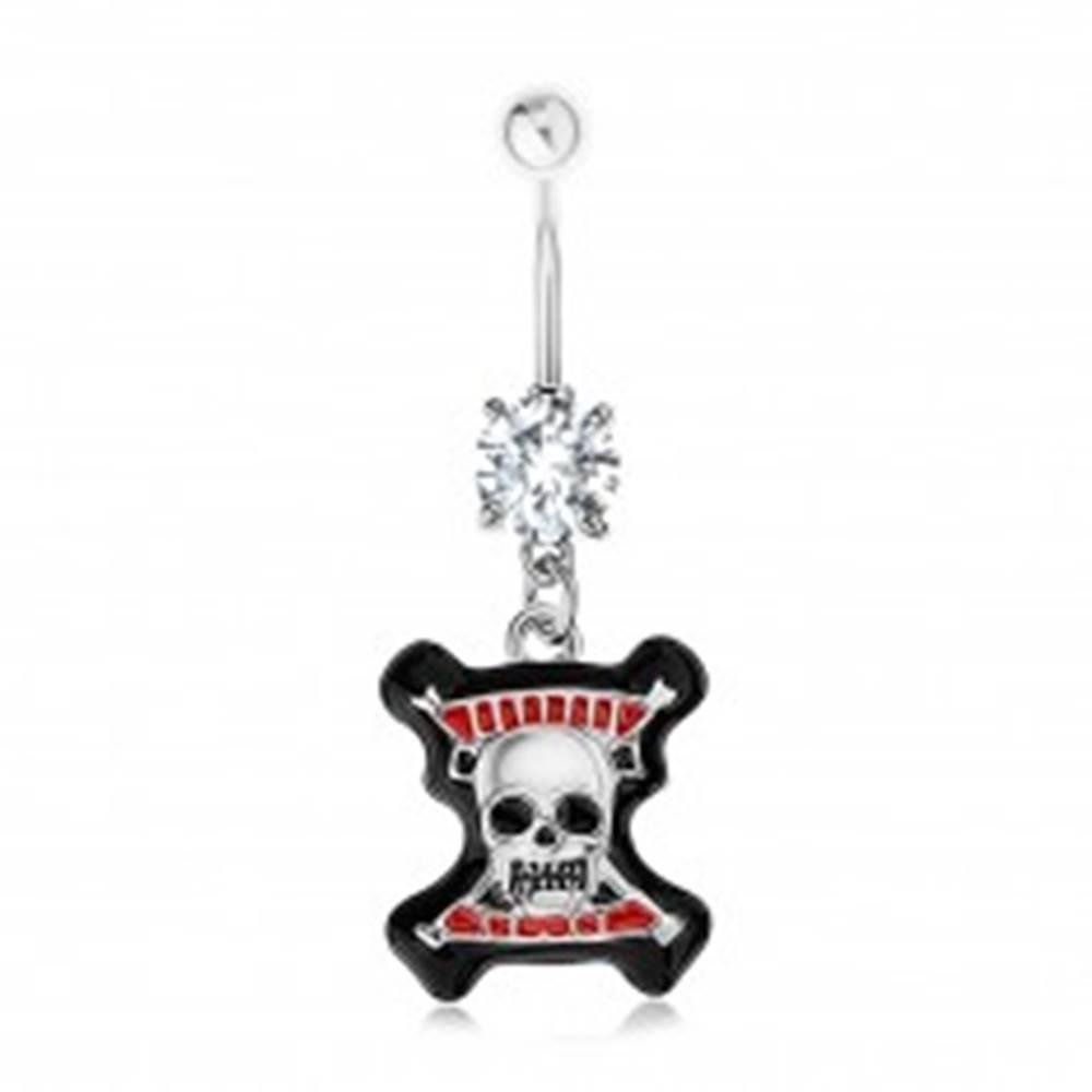 Šperky eshop Piercing do pupku, oceľ 316L, číry zirkón, lebka, čierny lem, červené prúžky